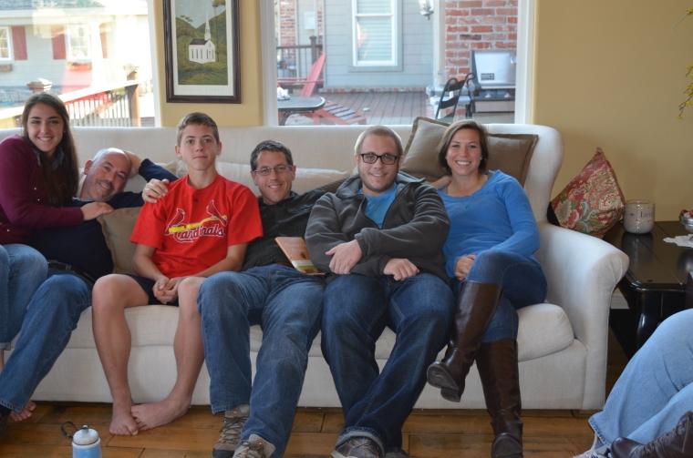 Thanksgiving 2013 White Sofa Toby Greg Kids