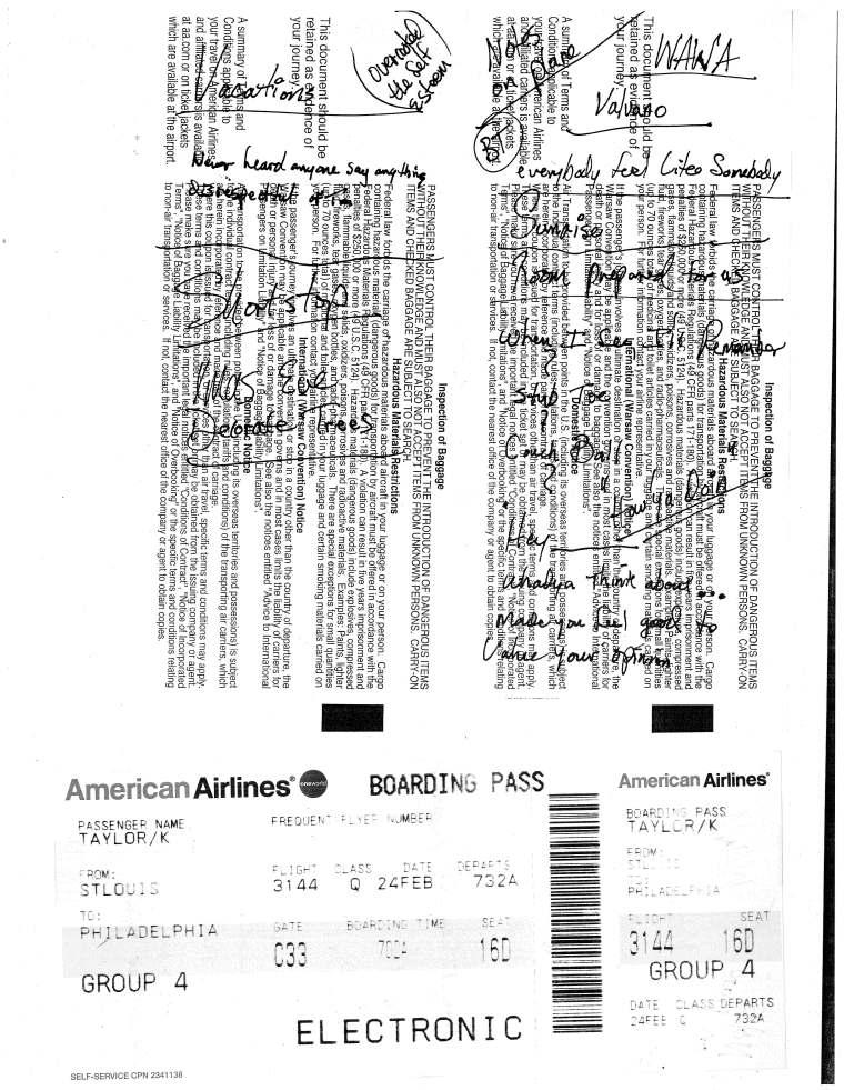 Thom Mason Notes on Plane