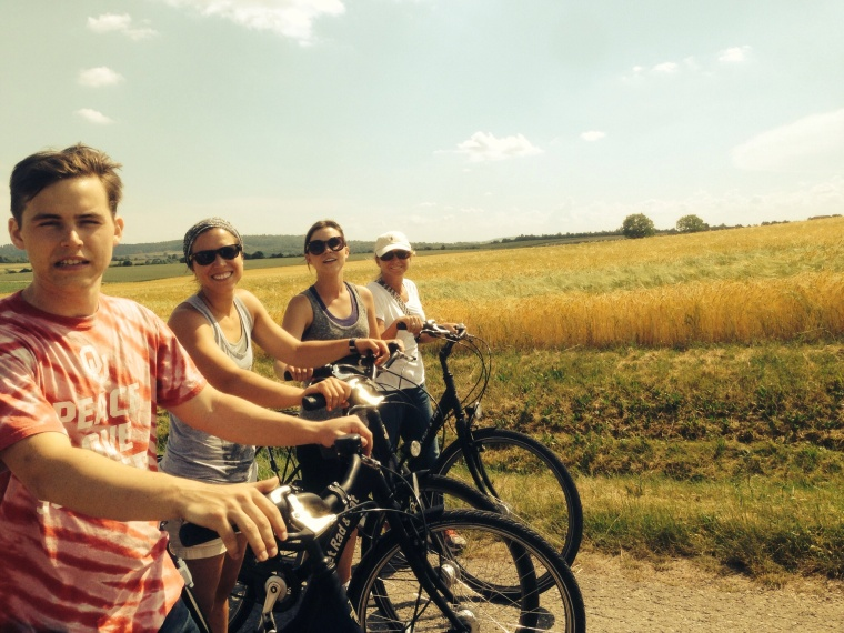 Biking south in the rolling farmlands we biked through four towns