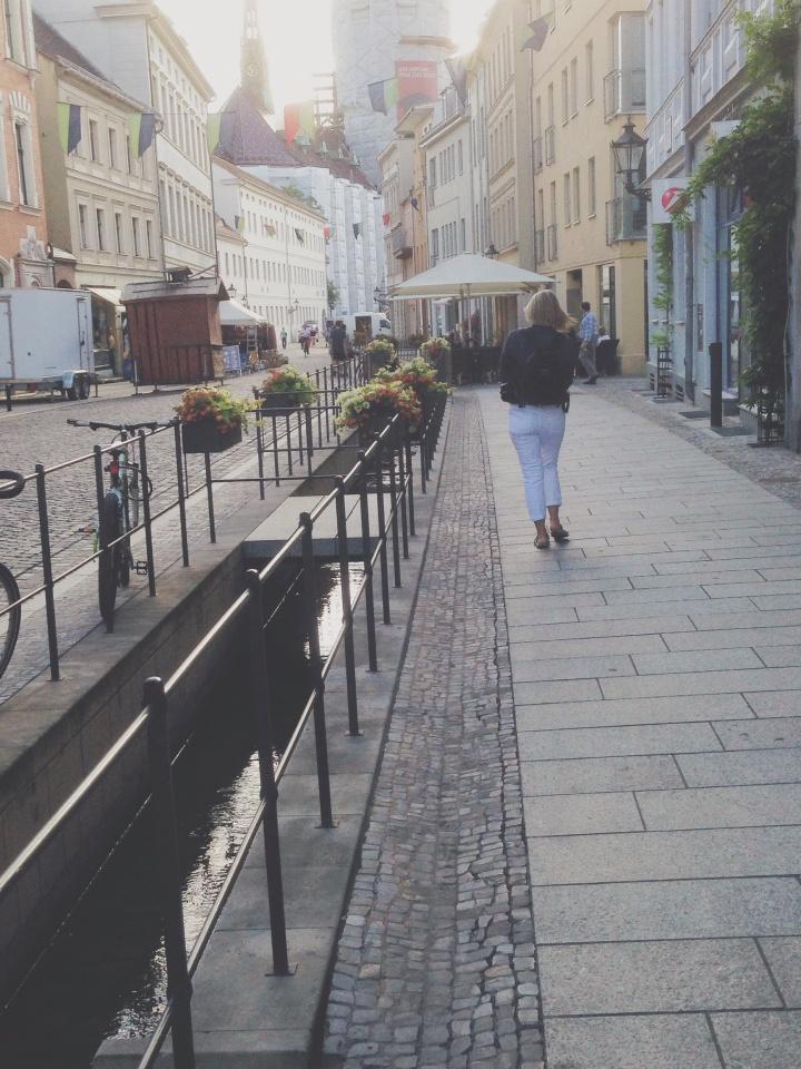 Karen walking toward the wittenburg church