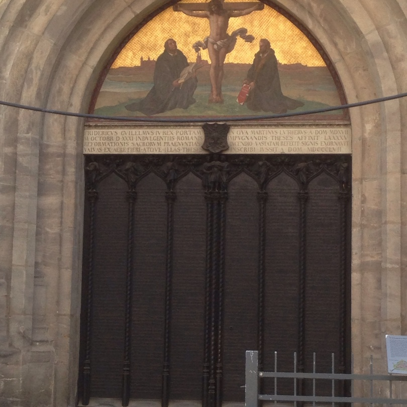 Wittenberg church door reconstituted with the 95 arguments etched into the metal