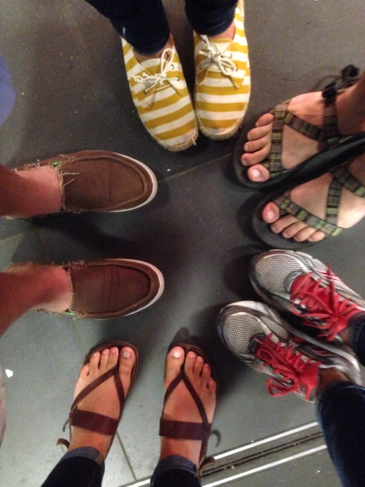 Our family feet in the Berlin train station
