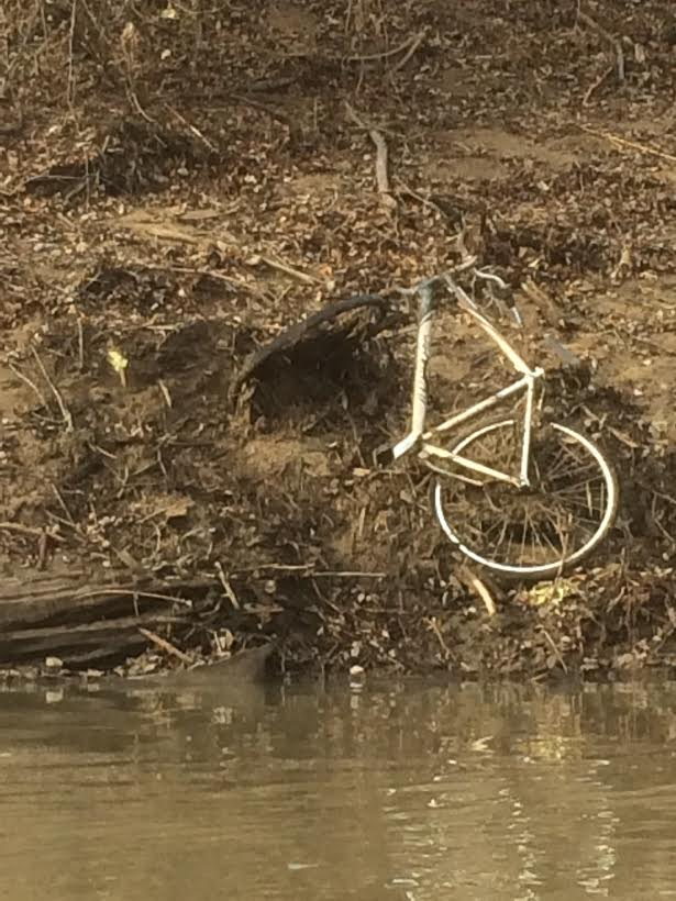 Caney Old Bike on River Bank